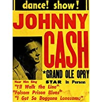 Music Concert Advert Johnny Cash Grand Ole Opry Art Print Poster Wall Decor 12X16 Inch 音楽コンサート広告大ポスター壁デコ