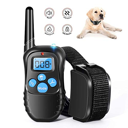 Runpettee Dog Training Collar Full Waterproof Rechargeable Remote Dog Training Shock Collar with Vibration, Shock, Tone and Backlight LCD, Vibra Shock Electronic Collar
