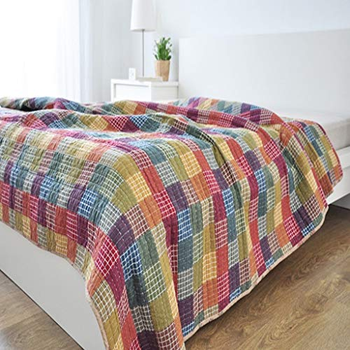 LXDWJ Algodón otoño Patchwork edredón Colcha sofá Cubierta Manta Lavado a máquina Cubierta de Verano (Color : B)