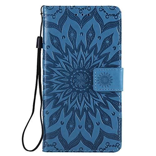 Tosim [LG X Power 2] Hülle Leder, Klapphülle mit Kartenfach Brieftasche Lederhülle Stossfest Handy Hülle Klappbar für LG X Power2 (LGM320N) - TOKTU57000 Blau