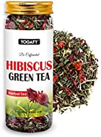 YOGAFY Hibiscus Green Tea Whole Leaf | for Healthy Heart and Blood Pressure Control 100 Gram - 50 Cups |