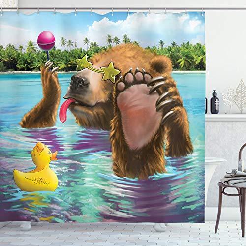 Animal Decor Vorhang für die Dusche von ambesonne, Happy Fancy Wild Bear in the Sea by the Beach mit Sonnenbrille Süßigkeiten, Stoff Badezimmer Decor Set mit Haken, 190,5cm lang, multicolor