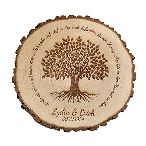 SNEG Baumscheibe mit Lebensbaum Motiv & persönlicher Gravur   Geschenk zum Jahrestag oder Hochzeit (24-27 cm Durchmesser)