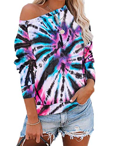 Frauen Langarm T-Shirts Damen Cold Shoulder Jumpers Tops Pullover Tie-Dye Tunika Tops