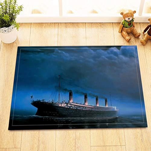 Aliyz Titanic Riesen Cruise Home Hotel Zimmer Tür Bodenmatte Bad Schlafzimmer Küche Wohnzimmer Kinderteppich rutschfestes Material Flanell 40x60cm
