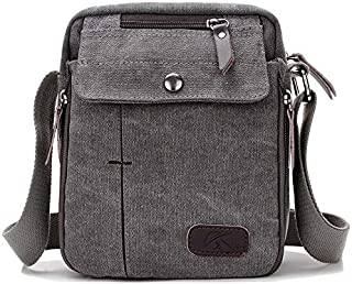 YXHM AU Men and Women Casual Small Messenger Bag Korean Canvas Bag Shoulder Bag Men Bag Outdoor Multi-Function Travel Bag Tide (Color : Grey)