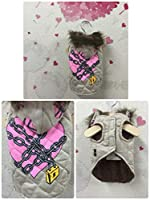 D/DW50(70) ジャケットジャンパー クリーム 犬 服 ファー フード ピンク 桃色 チェーン 鍵 padlock (L)