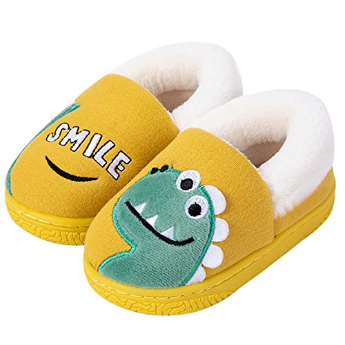 YUKTOPA - Zapatillas de invierno para niños y niñas con forro de piel para casa, antideslizante y diseño de dinosaurio
