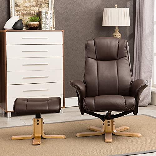 GFA Oxford Beheizter Massage-Drehstuhl mit Fußhocker (Nut Brown)