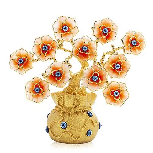 Kücheks Flor de Ojos malvados Azul turca, Dinero de la Suerte Dorado y árbol de Mal de Ojo con florero de Bolsa de la Suerte para Regalo de decoración del hogar