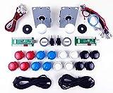 Digitalkey Set 2 Reproductores Arcade Pro para gabinete Mame - Controlador USB Joystick 16 Botones de 30 mm + 2 LED y Cables Brillantes de 5V (Kit Blanco)