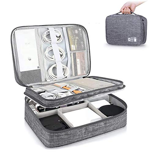Travel Cable Organiser Bag, 3-Layer Electronics Accessories Organizer Bag, Universal Waterproof Portable Travel Gadget Bag for Cables, Power Bank, USB Drive, Charger Hard Disk (Grey)