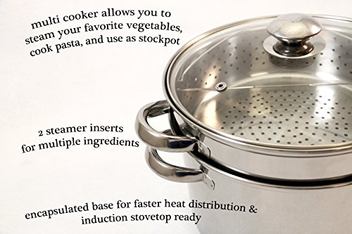ExcelSteel 529 Muti Multi-Cookware Set With Encapsulated Base, 12 Qt, Stainless Steel