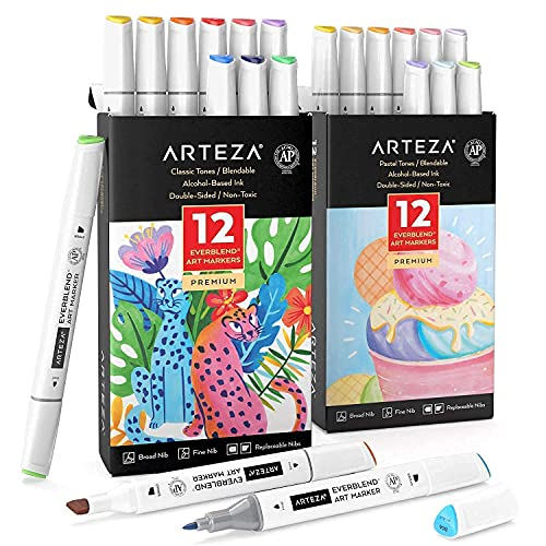 Arteza Everblend Markers Bright and Pastel Colors Bundle, Drawing Art Supplies for Artist, Hobby Painters & Beginners