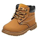 Toddler Baby Boys Girls Autumn Winter Martin Boots Shoes for 1-6 Years Old,Child Kids Solid Lace-Up Warm Sneakers (18-24 Months, Yellow)