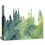 SENEW Watercolor Landscape Print Wall Art for Bedroom, Living Room, Forest Landscape Framed Canvas Plants Wall Art for Wall Decor Home Decor, 24' X 16'