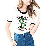 Estate Tessuto Morbido Riverdale-South Side Serpents Stampa Casual Donna T-Shirt a Manica Corta Assorbimento di umidità Moda