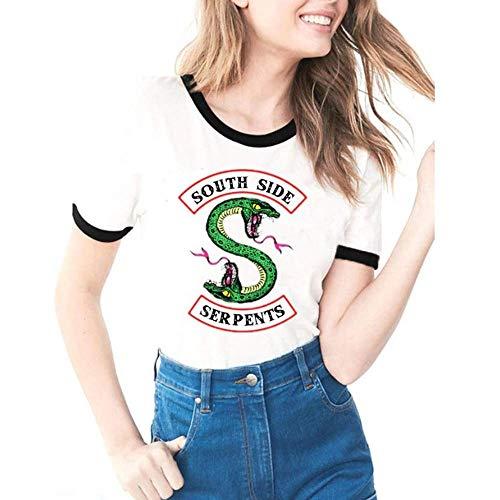 Tejido Modal Suave y Confortable Riverdale-South Side Serpents Imprimiendo Camisetas de Manga Corta Tops Verano Mujer Casual Moda Camisetas (C8 S)