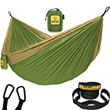 Wise Owl Outfitters Hammock for Camping Single & Double Hammocks Gear for The Outdoors Backpacking Survival or Travel - Portable Lightweight Parachute Nylon SO Green & Khaki