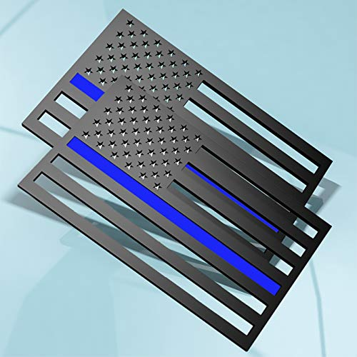 2Pack 3D Thin Blue Line American Flag Emblem Decal Cut-Out,thin blue line car decal,thin blue flag decal,Support Police and Law Enforcement Officers , 5'x3' (Blue Line, two USA Regular Orientation)