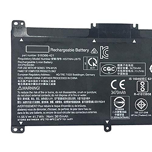 Amsahr BK03XL-02 Ersatz Batterie für HP BK03XL, 916366-541, 916811-855, HSTNN-UB7, GHp TPN-W125 Schwarz