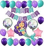 MAKFORT Meerjungfrau Thema Party Dekoration Geburtstag Deko Mädchen Folienballons Meerjungfrau...