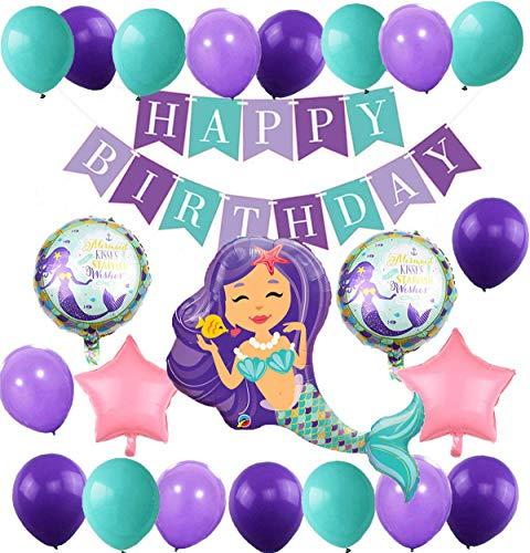 MAKFORT Meerjungfrau Thema Party Dekoration Geburtstag Deko Mädchen Folienballons Meerjungfrau Happy Birthday Girlande Luftballons Lila und Blau für Meerjungfrau Partyzubehör
