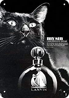 "Yilooom 1966 Lanvin My Sin Perfume Black Cat Vintage Look Metal Sign 7"" x 10""-Not Actual Perfume"