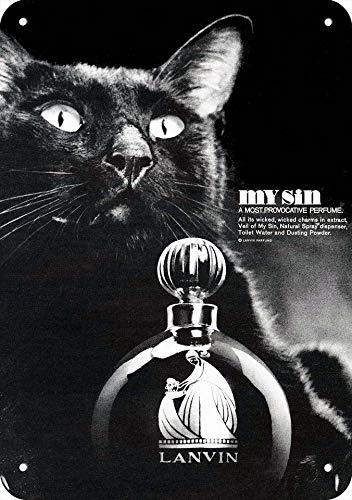Yilooom 1966 Lanvin My Sin Perfume Gato Negro de Aspecto Vintage, Letrero de Metal de 7 Pulgadas x 10 Pulgadas, no Perfume Real