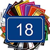 Plaque Numéro De Rue - Numéro De Maison PVC – Plaque Gravée À Personnaliser 15 x 10 cm – 21 Couleurs Disponibles (Bleu)