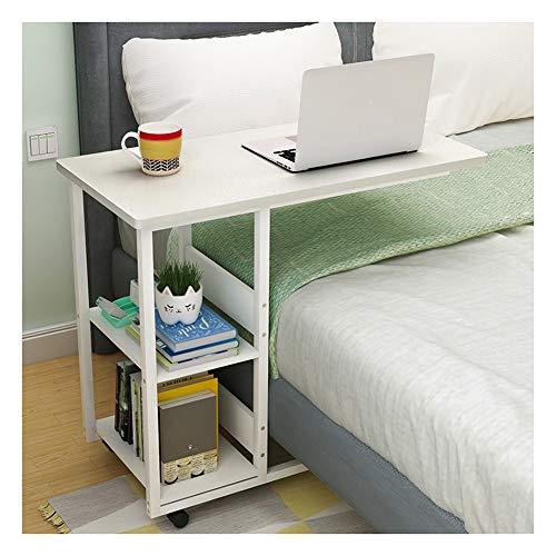 Mesa Portátil Ordenador Plegable con Ruedas, Escritorio Multifuncional, for Mesa Auxiliar, Múltiples Colores Disponibles para Cama y Sofá (Color : Warm White Color, Size : 60x40x75cm)