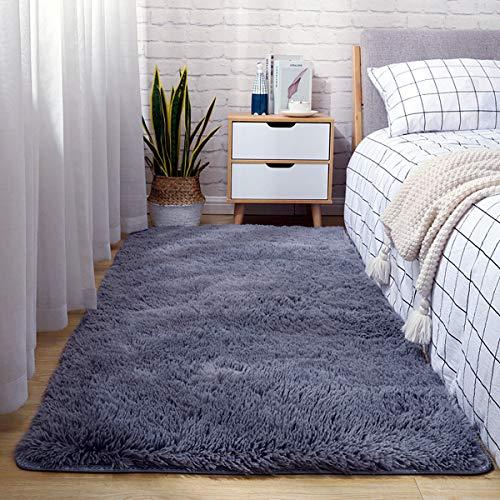 Tapis dintérieur modernes ultra doux tapis de salon moelleux adaptés aux enfants chambre décor à la maison tapis rectangulaire (80X160cm, gris)