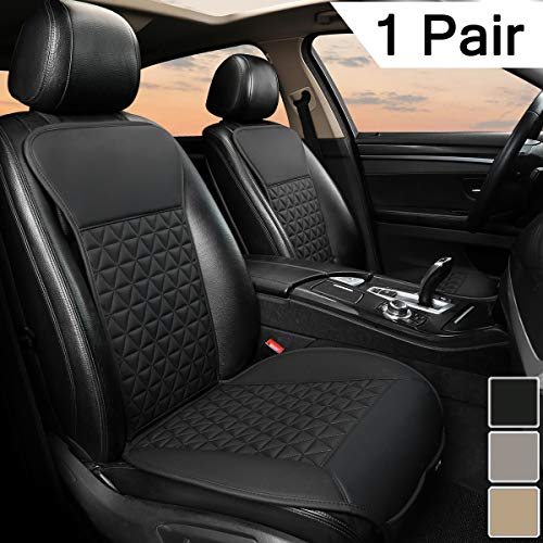Black Panther 1 Paar PU-Leder Sitzbezüge Auto Vordersitze, kompatibel mit 95% Autos (Limousine/SUV/Pickup/Van) - Schwarz