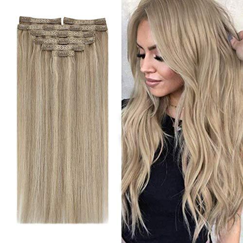 YoungSee 22 Pouces Clip Extension Cheveux Naturel - Blond Doré mixte Blond Moyen #16/22, 7pcs/120g - Rajout Extension Cheveux Clip Naturel Bresilien Vrai Cheveux