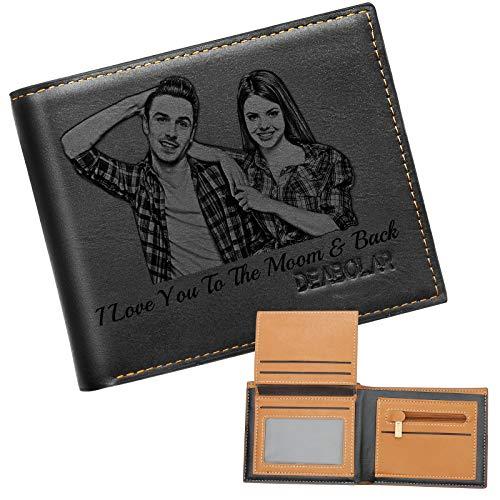 Personalizado de Foto Carteras, Grabada Monedero Personalizadas Minimalistas,Cuero Billetera Mujer,Regalos para Hombre Cartera (Negro)