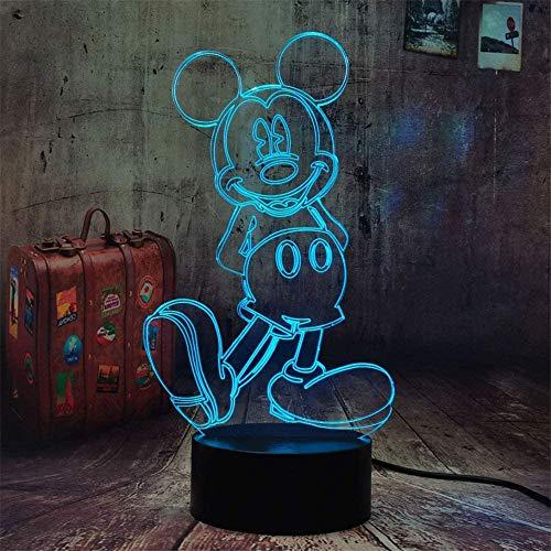 Lámpara de noche 3D Mickey Mouse lámpara 16 cambio de color lámpara de decoración con control remoto y toque inteligente, regalos de Navidad y cumpleaños para niños niñas