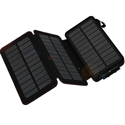 Solar Charger 24000mAh,WBPINE Solar Power Bank Waterproof Dual USB Output with 3 Solar Panels and Flashlights for iPhone,Samsung,iPad,Smartphone,Bluetooth Speak/MP3/4 and More (Black)