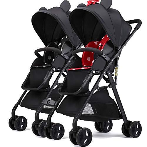 Znesd Légère poussette double - 5 points Système de sécurité, léger et facile pliant duo avec poussette bébé Side by Side Sièges jumeaux, for 6 mois à 3 ans (Color : C)