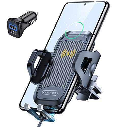 TORRAS Handyhalterung Auto Induktion, Handyhalter Auto mit Ladefunktion Upgrade Kit mit 2 Lüftungsclips Wireless Charging Auto für iPhone 12/12 Pro Max/ 11/Samsung S21/ S20/S10 Huawei Oneplus Usw.