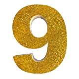 Letra del Alfabeto y Numeros en poliestireno de 20 centimetros de Altura y 3 centimetros de Grueso para Decoracion con Purpurina Oro para Eventos, Bodas y Fiestas (9)