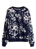ROMWE Women's Floral Print Long Sleeve Crew Neck Lightweight Sweatshirt Navy Medium