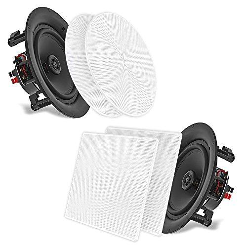 Pyle PDIC106 Dual-Stereo-Lautsprecher für Wand/Decke, 25,4 cm, 250 W, 2-Wege, Unterputzmontage, Weiß Standard mit runder und quadratischer Abdeckung. 5.25'' 13,3 cm.