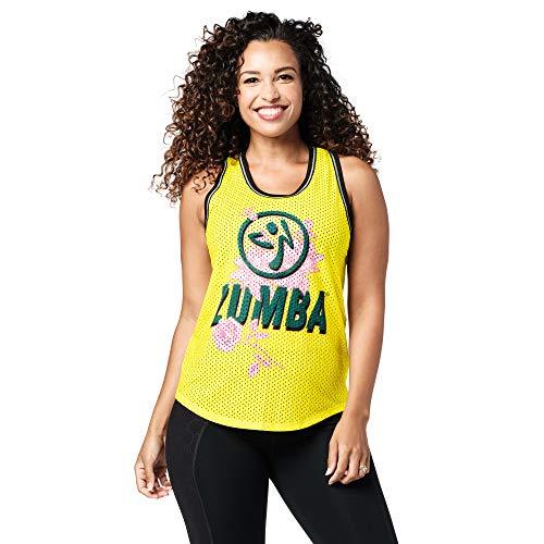 Zumba Camiseta de entrenamiento transpirable para mujer, color amarillo, XS