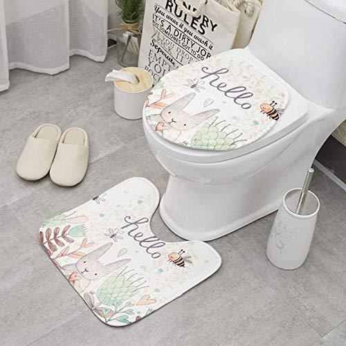 2pcs Set Cartoon Cute Toilet Bath Mat Rabbit Animal Pattern Bathroom Set Mat Suede Anti-slip Toilet Cover Bath Sets - 4,2pcs