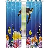 Cortinas opacas, modernas de dibujos animados de mar profundo náutico marino acuario peces tortugas rocas musgo impresión ilustración W52 x L63 cortinas opacas para dormitorio, multicolor
