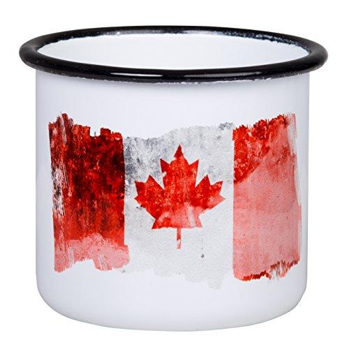 Canada Becher - Hochwertige Emaille Tasse mit Kanada Canada Flagge, leicht und bruchsicher, für Camping und Outdoor Fans - von tassenWERK.com