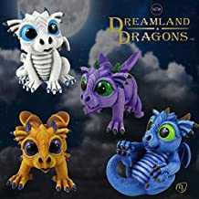 World of Wonders - Dreamland Dragons Series - Collectible 4 Piece Stone Dragon Figurines with Official Birth Certificate | Fantasy Home Decor Accent -4Pack