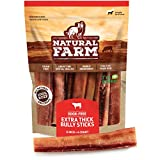 Natural Farm Bully Sticks - Odor Free, Extra-Thick Dog Treats, 6-Inch Long (4-Pack) – Fully Digestible 100% Beef Treats, Supports Dental Health – Keep Your Dog Busy with 50% Longer Lasting Chews