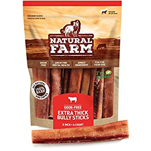Natural Farm Odor Free Jumbo Bully Sticks, 100% Beef – Made & Packaged at Our Own Food-Grade Facility – Fully Digestible High Protein Chews, Low Fat Treats – for Small, Medium & Large Dogs
