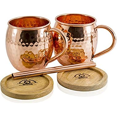 Set of 2 Moscow Mule Copper Mugs by Copper Mules – Handcrafted From 100% Pure Copper and Hand Hammered - Riveted Handles for Strength – Holds 16 ounces - BONUS Copper Straws, Wood Coasters, eBook